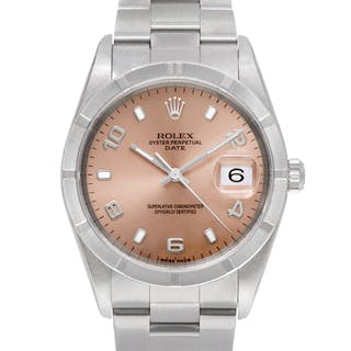 Rolex Date 15210 stainless steel Salmon dial 34mm auto watch