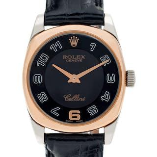 Ladies Rolex Cellini 6229 18k White & Rose Gold Black dial 25mm Quartz watch