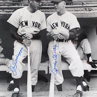 Mickey Mantle & Joe DiMaggio New York Yankees Dual-Signed Large B&W Photo (JSA)