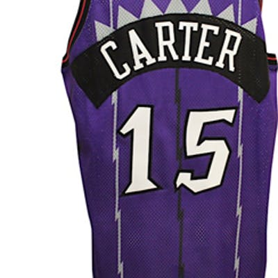 cheap for discount 477a4 1534d 1998-99 Vince Carter Toronto Raptors Rookie Game-Used Road ...