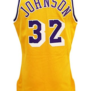 1991-92 Magic Johnson Los Angeles Lakers Game-Used Home Jersey