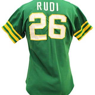 f3c8b139 1975 Joe Rudi Oakland A's Game-Used Green Alternate Jersey (Graded ...