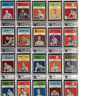 1961 Fleer Basketball Near-Complete Set (60)(GA Graded & Encapsulated)