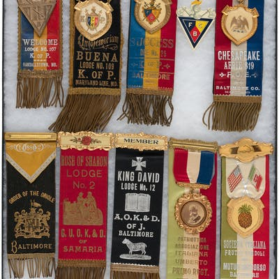 12 OUTSTANDING DESIGN AND CONDITION FRATERNAL SOCIETY RIBBON BADGES