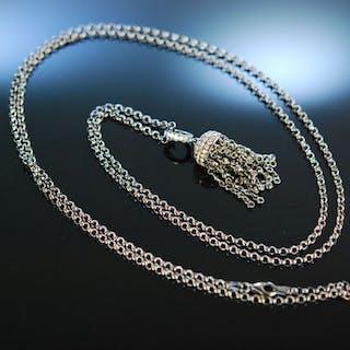 Diamond Tassel! Quastenanhänger Gold 750 Brillanten 2,1 ct mit langer Kette