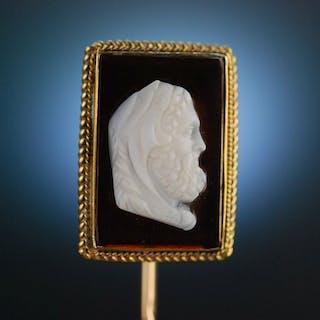 England um 1840! Edler Stick Pin Reversnadel Achat Kamee Hercules
