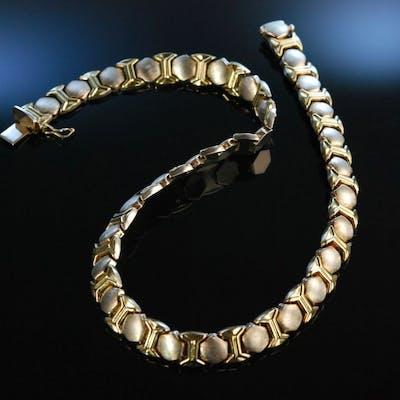 Italien Style! Schickes Collier Silber 925 teilvergoldet Italien um 1980