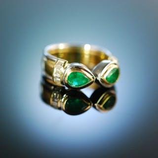 Massiv und edel! Feinster Smaragd Diamant Ring Wempe signiert Gold 750