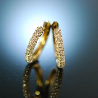Sparkling Earrings! Wundervolle ovale Creolen Gold 750 Brillanten 1,2 ct