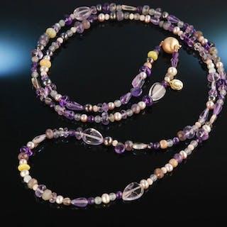 Fancy Violet! Lange Kette oder Armband Silber rot vergoldet lila Amethyst