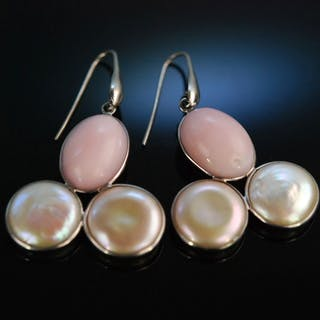 Big Rose! Wundervolle Ohrringe Silber 925 Pink Opal Perlen