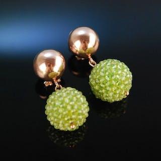 Shiny Green! Schicke Ohrringe Silber 925 rosé vergoldet Peridot