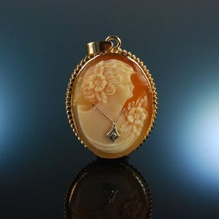Pretty Pendant! Hübscher Muschel Kamee Anhänger mit Diamant Gold 333