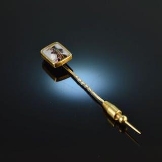 Schweiz um 1880! Revers Nadel Pin Dame in Landes Tracht Gold 750 Lupen Email