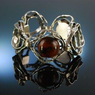 Perli um 1965! Vintage Design Armband Silber 835 Bernstein signiert