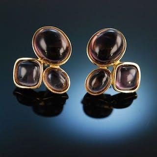Smart Colours! Schicke Ohrringe Silber 925 vergoldet Amethyst Cabochons