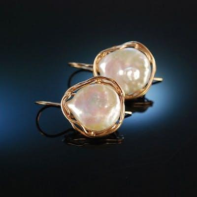 Wild Pearls! Große Ohrringe Silber 925 rot vergoldet Mabe Perlen