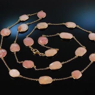 Schönes Rosé! Lange Kette Silber 925 vergoldet Pink Opale