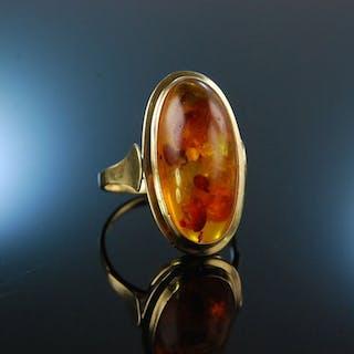 Baltischer Bernstein! Schöner Ring Gold 585 um 1980