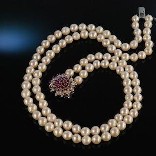 Klassisch und edel! Feinste Akoya Zuchtperlenkette 2reihig Weißgold 750 Rubine