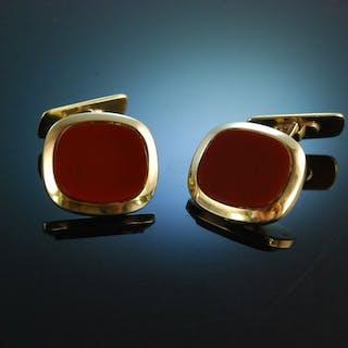 Für Wappen oder Monogramm! Klassische Manschettenknöpfe um 1950 Gold