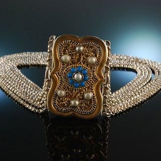 Österreich um 1860! Schöne Dirndl Trachten Kropfkette Silber 8reihig vergoldet