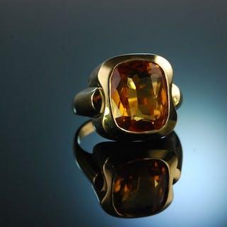 Golden Honey! Fantastischer Vintage Ring der 70er Gold 750 Citrin
