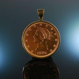Golden Liberty! Massiver Anhänger Brosche Gold 585 Münze 10 USD