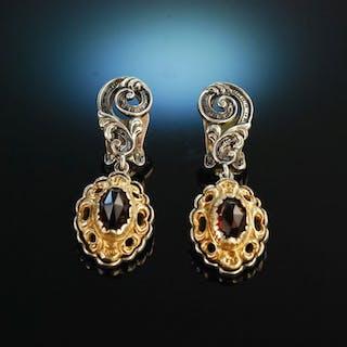 Um 1950! Hübsche Trachten Ohrclipse in Barockstil Silber 835 teilvergoldet