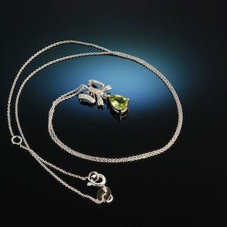 Tiny Ribbon! Zartes Collier Weiß Gold 750 Peridot Diamanten