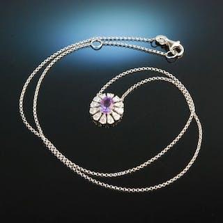 Noble Violet! Anhänger Collier Weiß Gold 750 Amethyst Brillanten