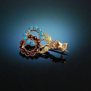 Liebesbeweis! Historische Freundschafts Brosche Gold 585 Granate Türkise
