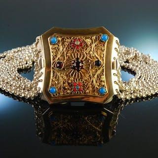 Um 1870! Wunderschöne historische Kropfkette 7 reihig Silber