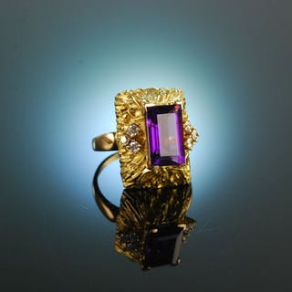 Cocktail Time! Vintage Ring Gelbgold 750 Amethyst Brillanten Diamanten
