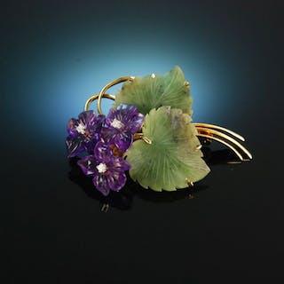 Mein Veilchen um 1950! Brosche Jade Amethyst Diamanten Gold 585