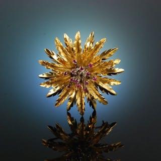 Italien um 1950! Feinste Blüten Brosche Rubine Gold 750