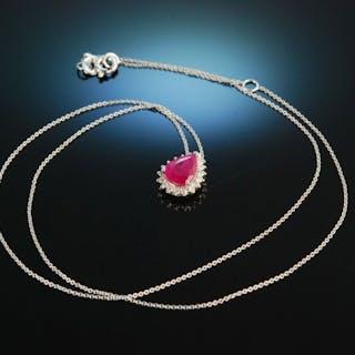 Classy Ruby! Rubin Anhänger Kette Weißgold 750 Diamanten Brillanten