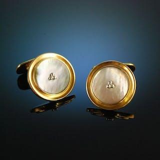 Um 1950! Klasssiche Vintage Manschettenknöpfe Silber 835 vergoldet