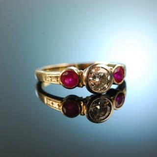 Münster um 1930! Schöner ca. 0,5 ct Diamant Rubin Ring Gold 585 Platin