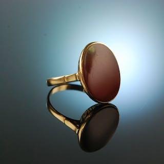 Um 1930! Hübscher Wappen Siegel Ring Gold 333 Karneol zum Gravieren