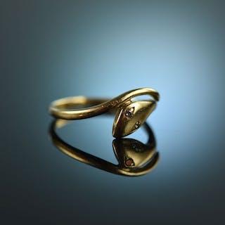 Um 1970! Schöner schlichter Schlangen Ring Gold 585 Brillanten