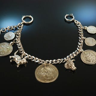 Garmisch um 1900! Tolles Charivari Silber neun Anhänger u.a. Münzen Katze Stier