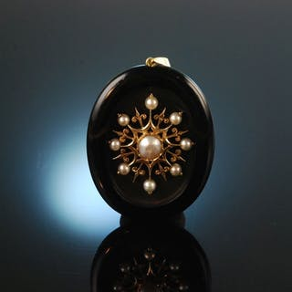Um 1880! Wundervoller großer Onyx Anhänger Gold 585 Orientperlen