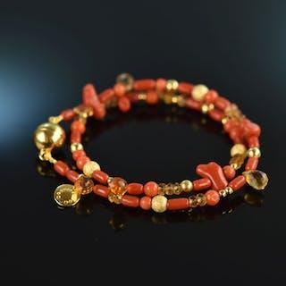 Fancy Coral! Armband 2reihig Silber 925 vergoldet Koralle Citrin