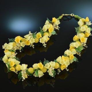 Um 1925! Seltene Tutti Frutti Glas Blumen Kette Hakenschließe Silber