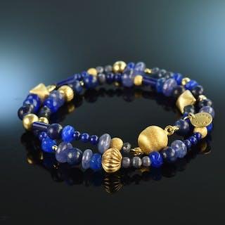 Königin der Nacht! Blue Fancy Armband Saphir Tansanit Kyanit Quarz