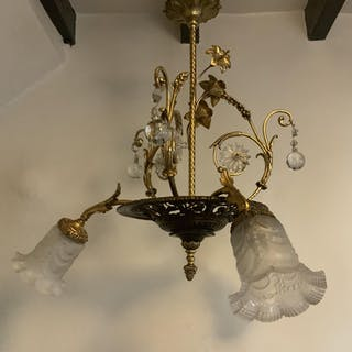 French Floral Foliage Ornate Brass Chandelier