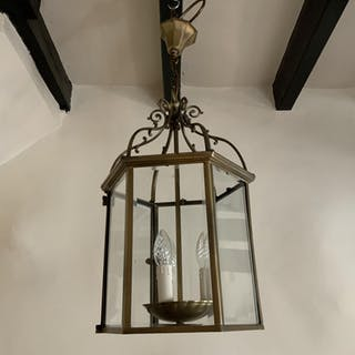 Six Sided Brass Lantern with Unusual Side Opening