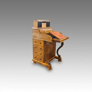 Victorian walnut Harlequin Davenport desk