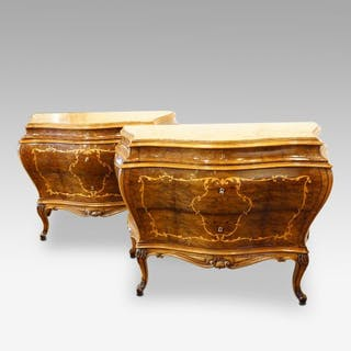 Pair of fine inlaid walnut Italian commodes